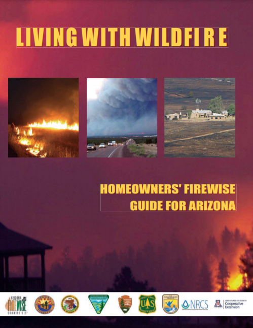 "Cover - ""Arizona Living with Wildfire"" shows helicopter dropping water on a wildfire near a home"
