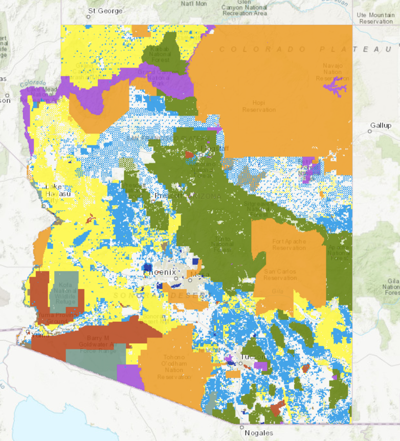 Arizona Map showing land management in different colors by agency management